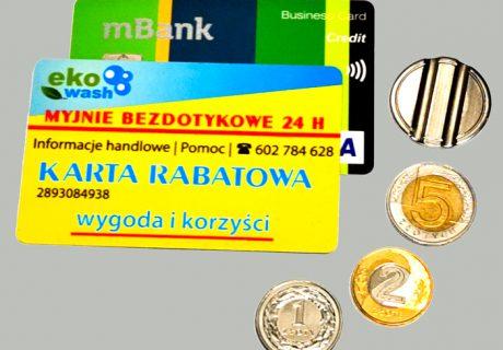 Płatności na myjni - karty bankowe, firmowe rabatowe, monety 1, 2 5 zł, żetony